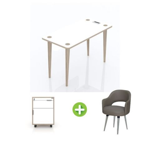 Artistico Free Desk Basic 120*60 cm With Fixed Chair And Chest of Drawers AFD120-FCCW