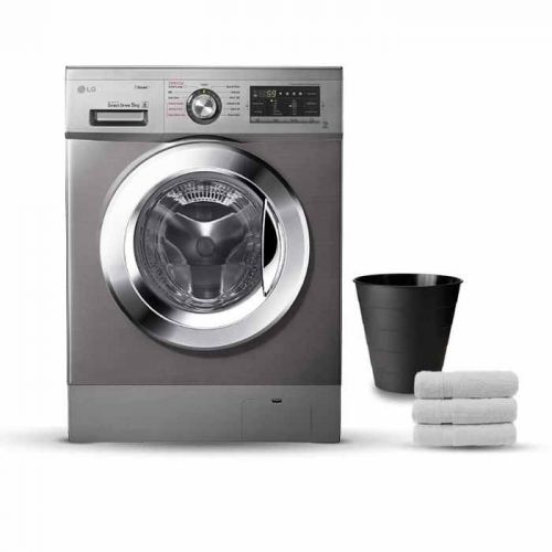 LG Washing Machine 9 Kg Direct Drive 6 Motions Steam Stone Silver Color: FH4G6VDY6