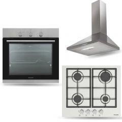 Dominox Chimney Hood 60cm 370 m3/h and Gas Hob 60 cm and Gas Oven 60 cm DJO 604 XS