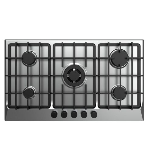 FRESH Gas Built-In Hob 5 Burner 90 cm Cast Iron Safety Stainless F-8869