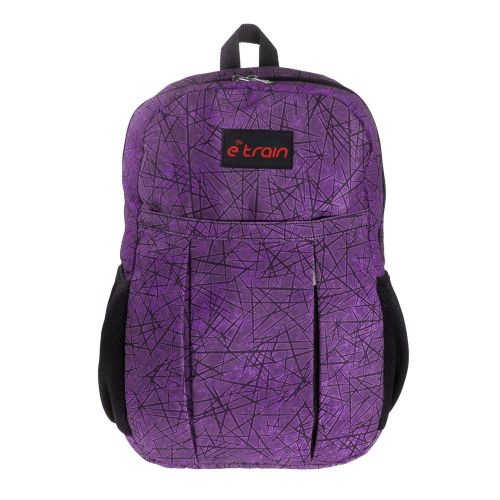 E-train Cotton Backpack Bag fits Up to 15.6 Purple color BG01P