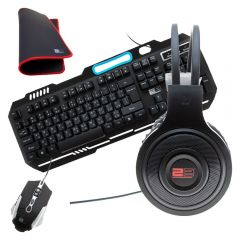 2B 4 in 1 Gaming Combo Wired Keyboard Mouse Pad Wired Mouse and Wired Gaming Headphone KB344