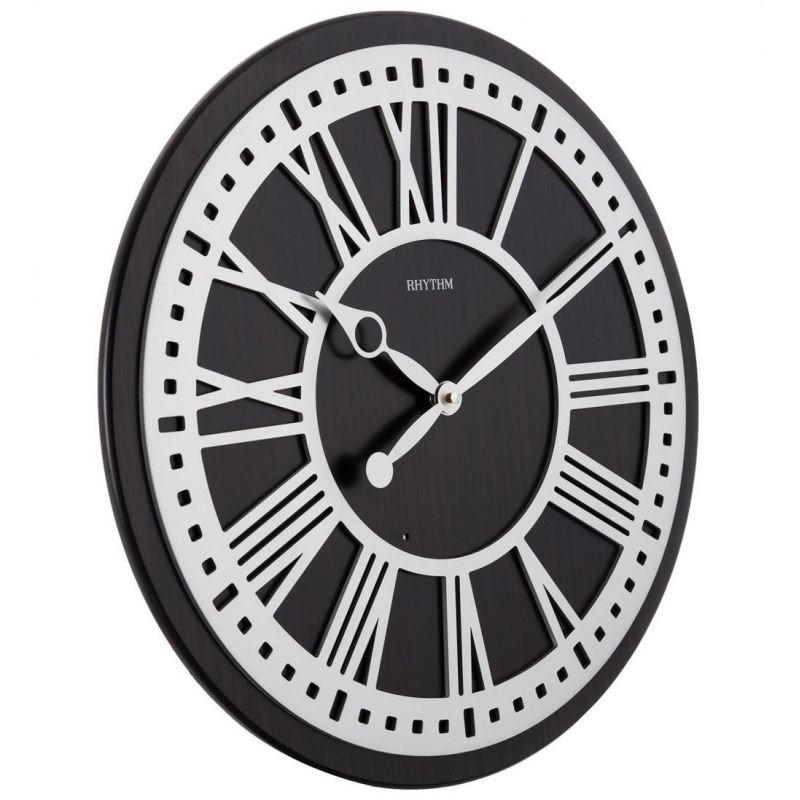 Rhythm Wooden Wall Clock 44 8 Cm Brown Cmh745nr06