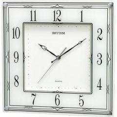 RHYTHM Square Wall Clock 28.7 cm White CMG419NR03