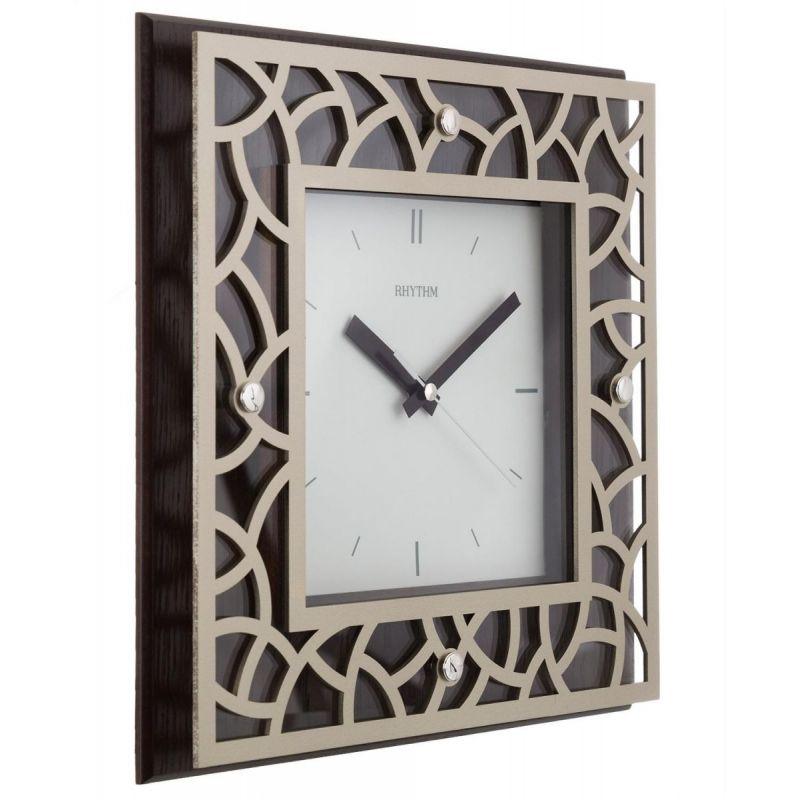 Rhythm Wooden Square Wall Clock 29 6 Cm Brown Cmg998nr06