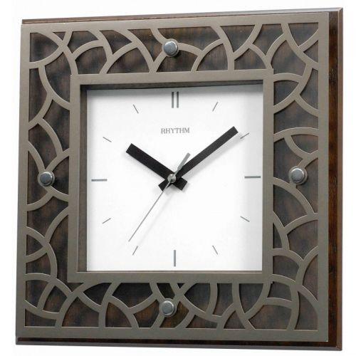 RHYTHM Wooden Square Wall Clock 29.6 cm Brown CMG998NR06