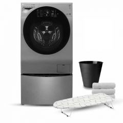 LG TwinWash 12Kg With Dryer 8Kg Steam 1400 rpm Stainless + 2kg Lower TwinWash FT614G1SS