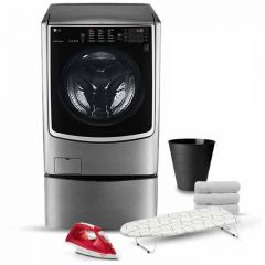 LG TwinWash 21Kg With Dryer 12Kg Steam 1000 rpm Stainless Steel + 3.5kg Lower TwinWash FT025C9SS