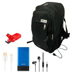 Beam Bag Laptop,ADATA Power Bank 7000 mAh,Flash Drive 32GB, ORAIMO Micro Cable and Earphone BM022