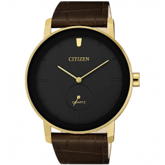 Citizen Leather Round Analog Watch for Men Brown BE9182-06E