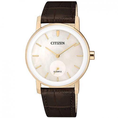 Citizen Leather Round Analog Watch for Women Brown EQ9063-04D