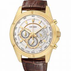 Citizen Leather Round Watch for Men Quartz Chronograph Brown AN8043-05A