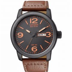 Citizen Leather Round Analog Watch for Men Eco-Drive Brown BM8475-26E