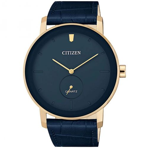 Citizen Leather Round Analog Watch for Men Black BF2001-04E