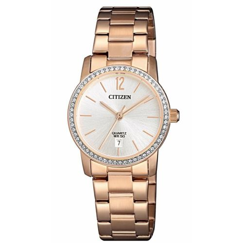 Citizen Stainless Steel Round Analog Watch for Women Gold EU6039-86A