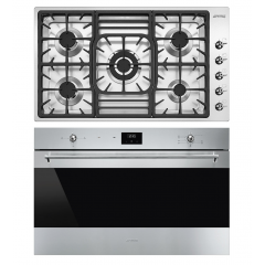 SMEG Built In Hob 5 Burners 90 cm+Built-In Gas Oven 90 cm with Electric Grill PGF 95-4+SF 9300 GVX1