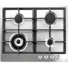 THOMSON Built-In Hob 60 cm 4 Gas Burners Safety Stainless Cast Iron Electronic Ignition TH6G3W1VC/S