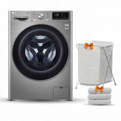 LG Washing Machine 9Kg 1400 RPM 6 Motions Steam Silver Stone F4R5VYG2T