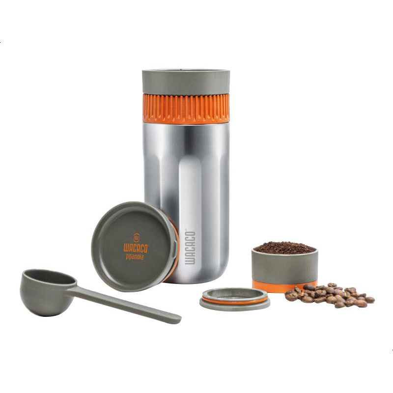 Wacaco Pipamoka Portable American Coffee Maker Mini Travel Coffee Machine Insulated 300 Ml Silver W 4897066230504