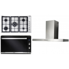Elba Gas Hob 90 cm 5 Burners and Built-In Gas oven with Grill 90 cm and Chimney Hood 90cm E95-545XN