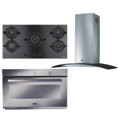 Franke Chimney Hood 90cm 650 m3/h and Gas Hob Crystal 90cm and Gas Oven 90cm FHCR 905 4G TC HE BK C
