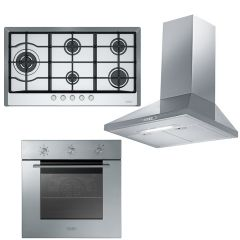 Franke Chimney Hood 90cm 430 m3/h and Gas Hob 5 Burners and Gas Oven 60 cm FJO 904 W XS