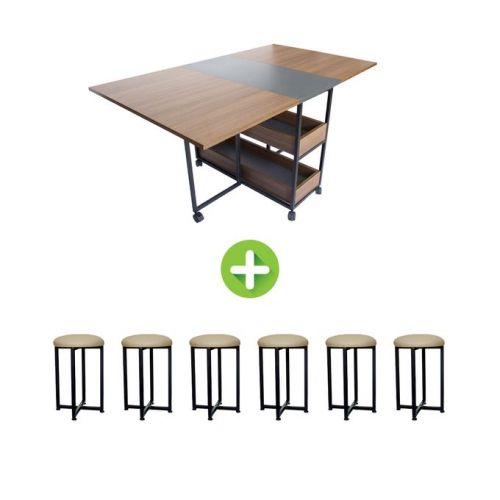 Artistico Modern Dining Table With 6 Chairs Brown AMDT150B+6
