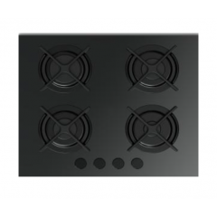 Fresh Built-In Hob 4 Burner 60 cm Glass Full Safety with Cast Iron F-9617