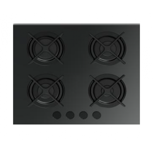 Fresh Built-In Hob 4 Burner 60 cm Glass with Cast Iron F-8872