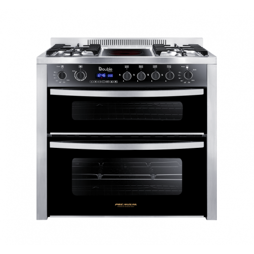 Premium Double Chef Gas Cooker 4 Burners 60*60 Burner Amid Infared Stainless Steel*Black PRM6090SS-1GC-511-IDSP-DV-F