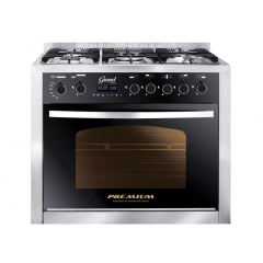 Premium Grand Chef Gas Cooker 5 Burners 60*90 Stainless Steel*Black PRM6090SS-1GC-511-IDSP-GO