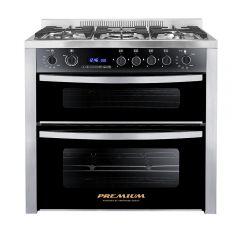 Premium Double Chef Gas Cooker 5 Burners 60*90 cm 2 Vertical Ovens PRM6090SS-1GC-511-IDSP-DV
