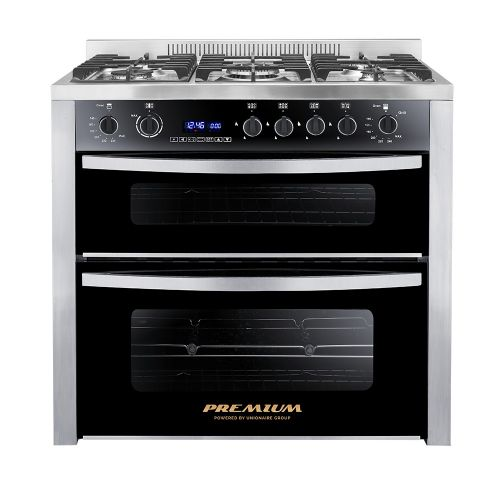 UnionAir Premium Double Chef Gas Cooker 5 Burners 60*90 cm 2 Vertical Ovens PRM6090SS-1GC-511-IDSP-DV