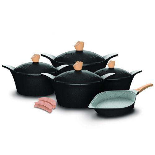 Lava Square Granite Cookware Set with Silicone Mitts 11 Pieces Black lv-sq-st11-bl