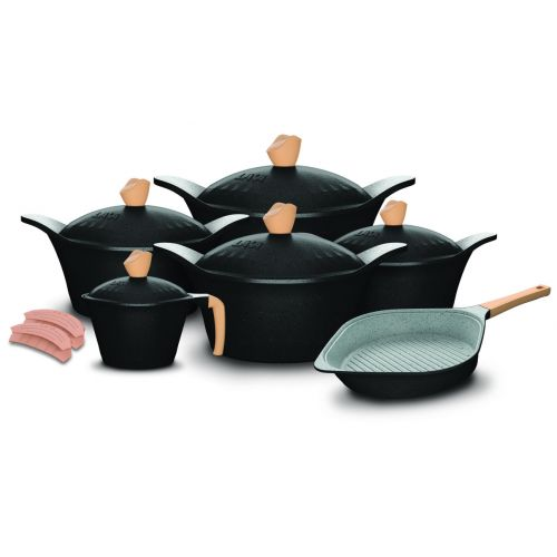 Lava Square Granite Cookware Set with Grill Pan and Silicone Mitts13 Pieces Black lv-sq-st13-bl