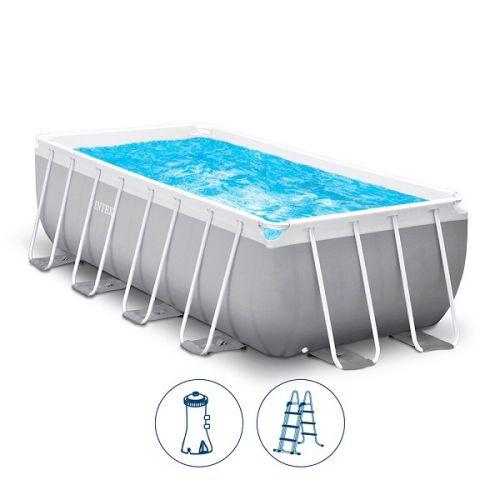 انتكس حمام سباحة مستطيل الشكل 400*200*122 سم مع فلتر لون رماديIX-26790