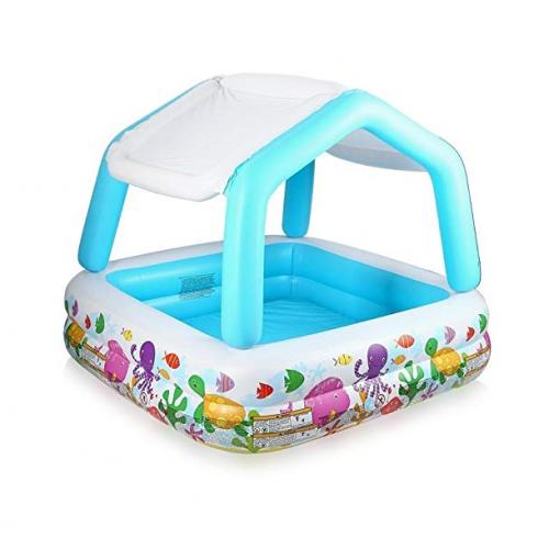 Intex Infltable Kiddie Pool with Sun Shade 1.57*1.57*1.22 m IX-57470