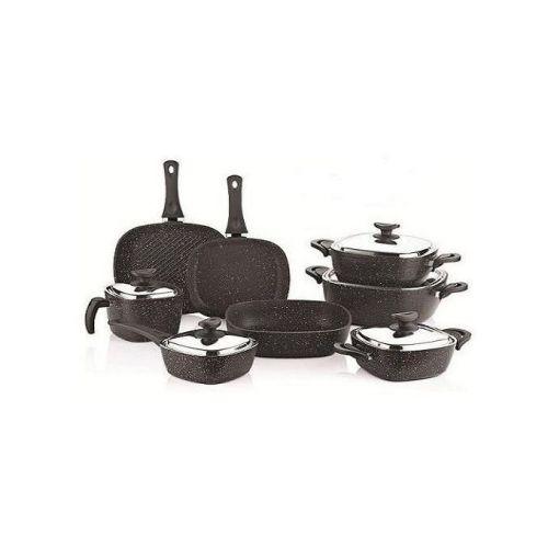 SAFLON Kitchen Pot Set 13 Pieces Granite Black S-2733