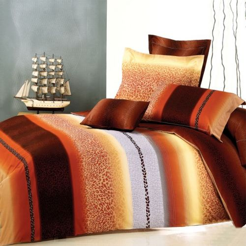 Family Bed Flat Bed Sheet Cotton Satin 4 Pieces Multi Color CS_4004