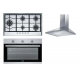 Franke Hood 90cm 430 m3/h Black and Gas Hob Stainless 90cm and Gas Oven 90cm FMXO 93 M GG XS/NF