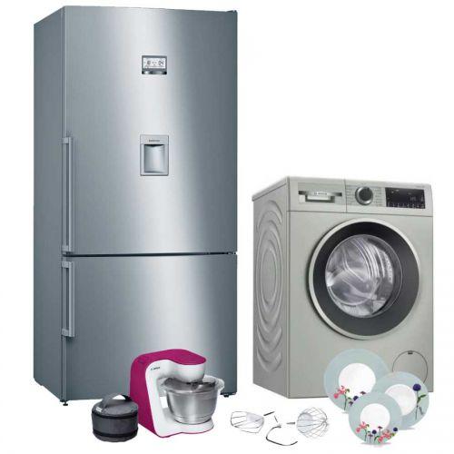 BOSCH Refrigerator Combi 27 Feet and Washing Machine 10kg and Kitchen Machine 900W KGD86AL30U