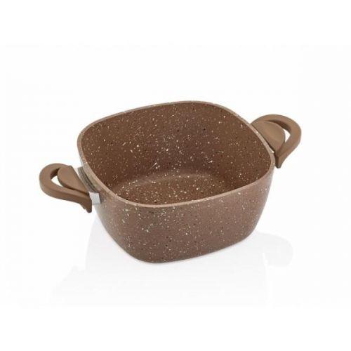 SAFLON Powerline Granite Pot 22 cm Square Shape Brown S-6359