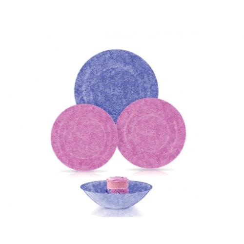 Luminarc Dinner Set 24 Pieces Stony Beryl Pink* Purple Q4726