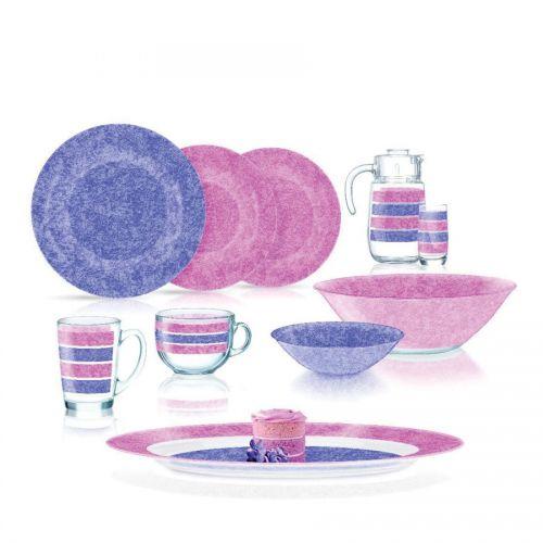 LUMINARC STONY Pink & Purple Set 46 Pieces Q4732