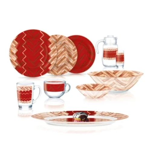Luminarc Woody Red Dinner Set 46 Pieces Q4149