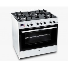 UnionAir Cooker I-Chef 80*60 cm 5 Burners Glass Top With Fan Safety Aluminium: C6080GS-AC-(127-383)-IDSH