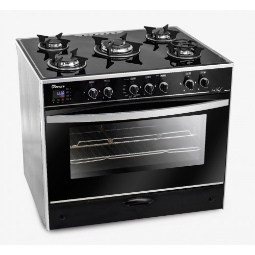 UnionAir Cooker I-Chef 90*60 cm 5 Burners Glass Top With Fan Safety Aluminium Digital Touch Control: C6090GS-AC-383-IDSH-S