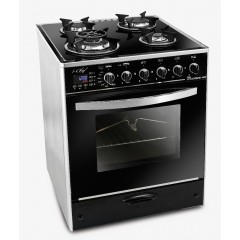 UnionAir Cooker I-Chef 60*60 cm 4 Burners Glass Top With Fan Safety Aluminium Digital Touch Control: C6060GS-AC-383-IDSH-S
