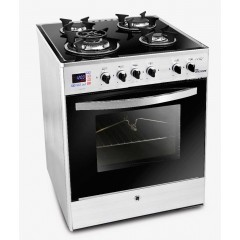 UnionAir Cooker I-Chef 60*60 cm 4 Burners Glass Top With Fan Safety Aluminium Digital Control: C6060GS-AC-383-IDSH-S