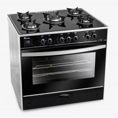 UnionAir Cooker iChef 80*60 cm 5 Burners Glass Top With Fan Safety Aluminium Digital Touch Control: C6080GS-AC-383-IDSH-S